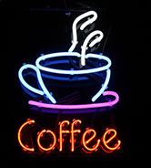 Rótulo luminoso para cafetería.